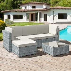 Oseasons® Trinidad 4 seater rattan lounge set - Stone Grey