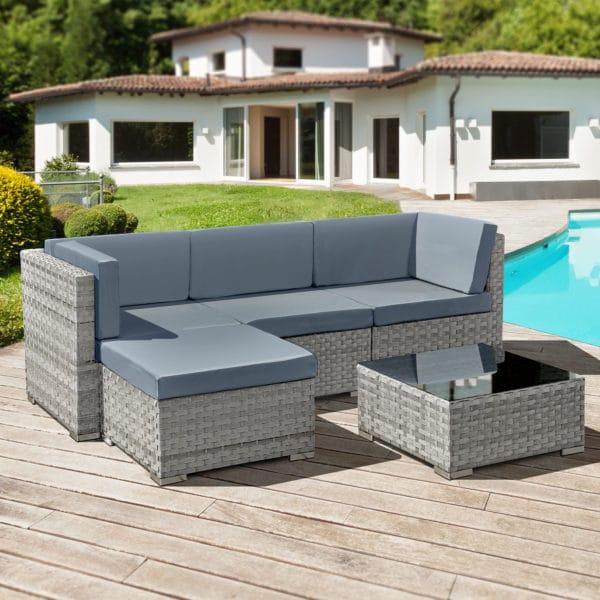 Oseasons® Trinidad Rattan 4 Seat Modular Chaise Lounge Set in Dove Grey