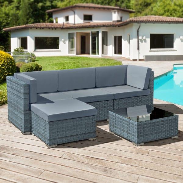 Oseasons® Trinidad Rattan 4 Seat Modular Chaise Lounge Set in Ocean Grey