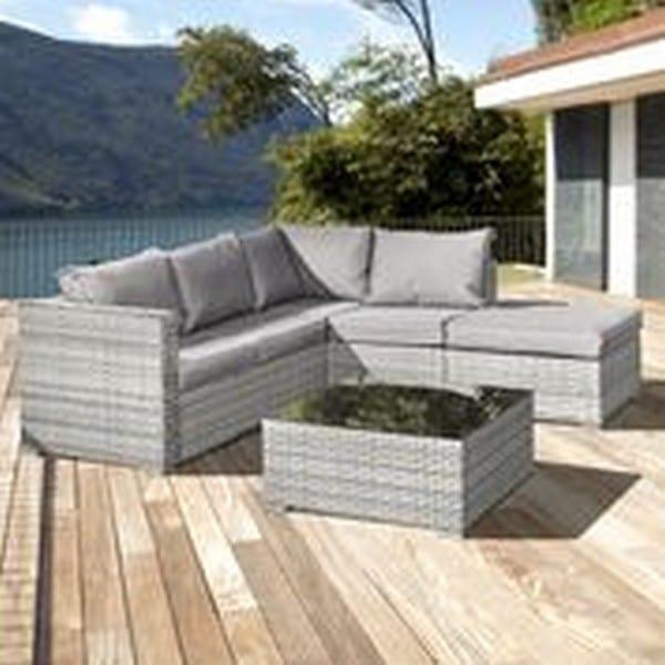Oseasons® Aruba Rattan 5 Seat Corner Set in Grey