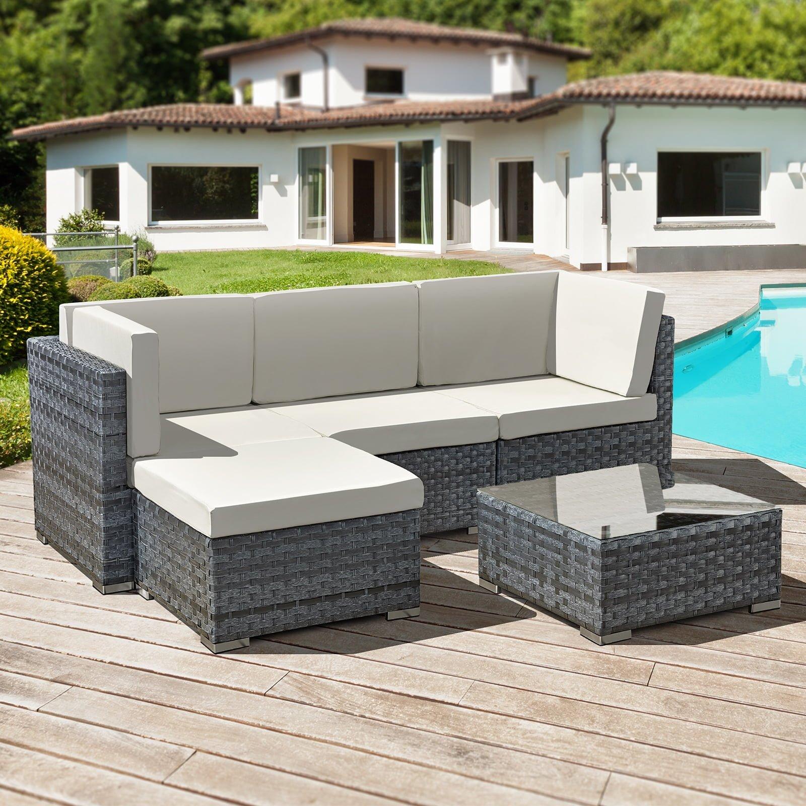 Oseasons® Trinidad 4 seater rattan lounge set - Ocean Grey
