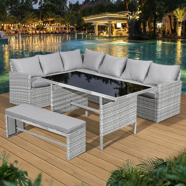 Oseasons® Fiji 8 seater rattan corner patio set
