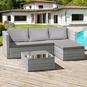 Oseasons® Corfu 3 seat rattan chaise lounge set