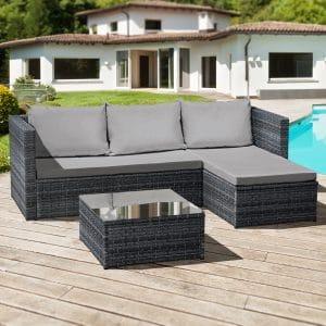 Oseasons® Corfu Rattan 3 seater chaise patio set - Ocean Grey