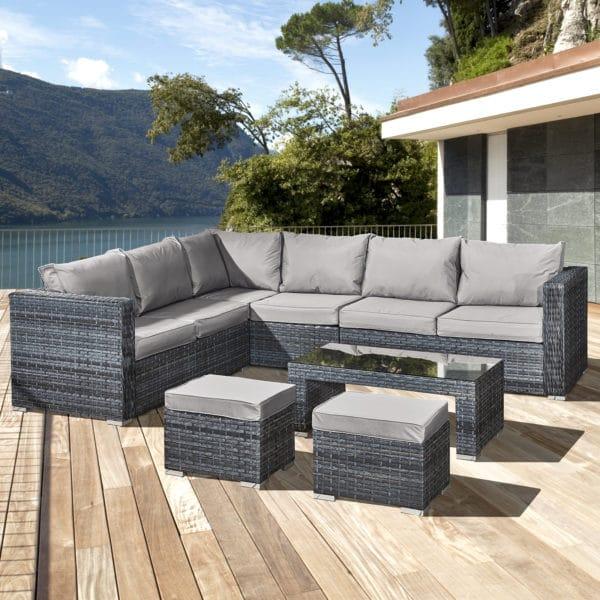 Oseasons® Aruba Rattan 8 Seat Corner Set in Ocean Grey