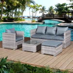 Oseasons® Acorn Rattan 5 Seat Lounge Sofa Set in Dove Grey
