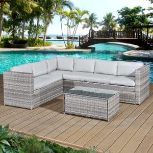 Oseasons® Acorn Rattan 6 Seat Corner Sofa Set in Dove Grey