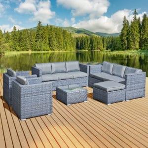 Oseasons® Malta XS Rattan 9 Seat U-Shape Set in Ocean Grey
