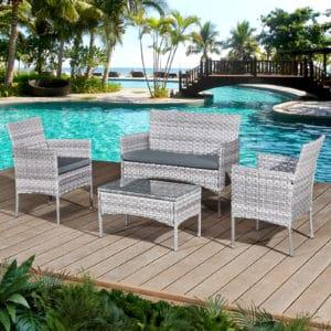 Oseasons® Acorn Rattan 4 Seat Bistro Lounge Set in Dove Grey
