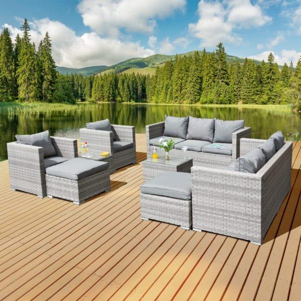Oseasons® Acorn Deluxe Rattan 10 Seat Modular Sofa Set in Dove Grey