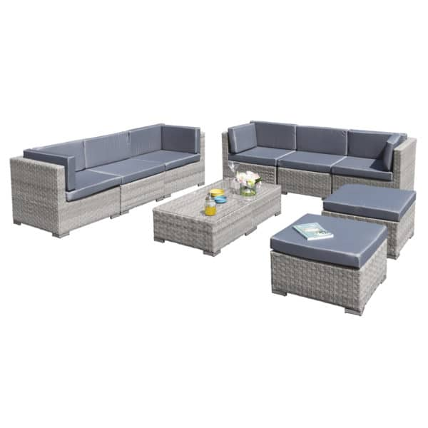 Oseasons® Trinidad Deluxe Rattan 8 Seat Modular Sofa Set in Dove Grey