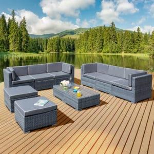 Oseasons® Trinidad Deluxe Rattan 8 Seat Modular Sofa Set in Ocean Grey