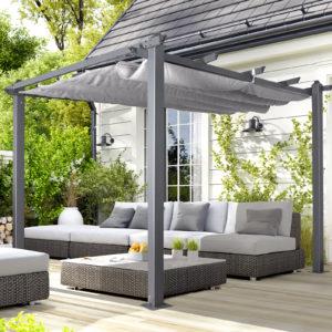 Oseasons® Acorn Aluminium 3m Square Pergola Gazebo in Grey